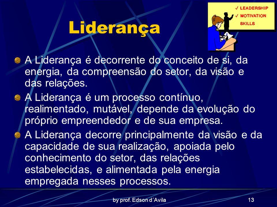 by prof. Edson d´Avila13 Liderança A Liderança é decorrente do conceito de si, da energia, da compreensão do setor, da visão e das relações. A Lideran