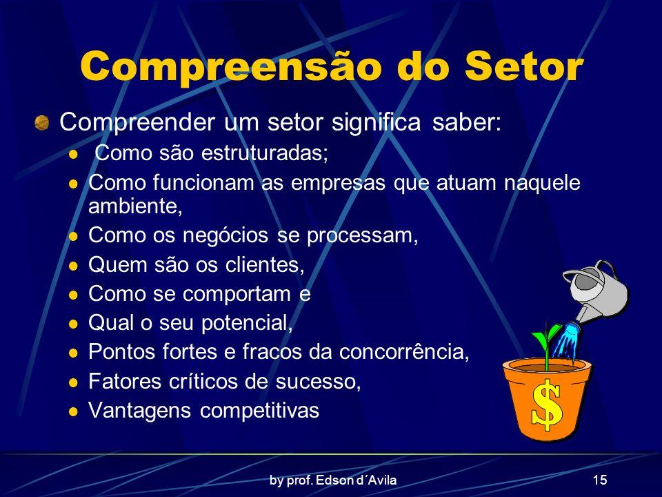 by prof. Edson d´Avila15 Compreensão do Setor Compreender um setor significa saber: Como são estruturadas; Como funcionam as empresas que atuam naquel