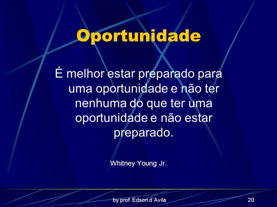 by prof. Edson d´Avila20 Oportunidade É melhor estar preparado para uma oportunidade e não ter nenhuma do que ter uma oportunidade e não estar prepara