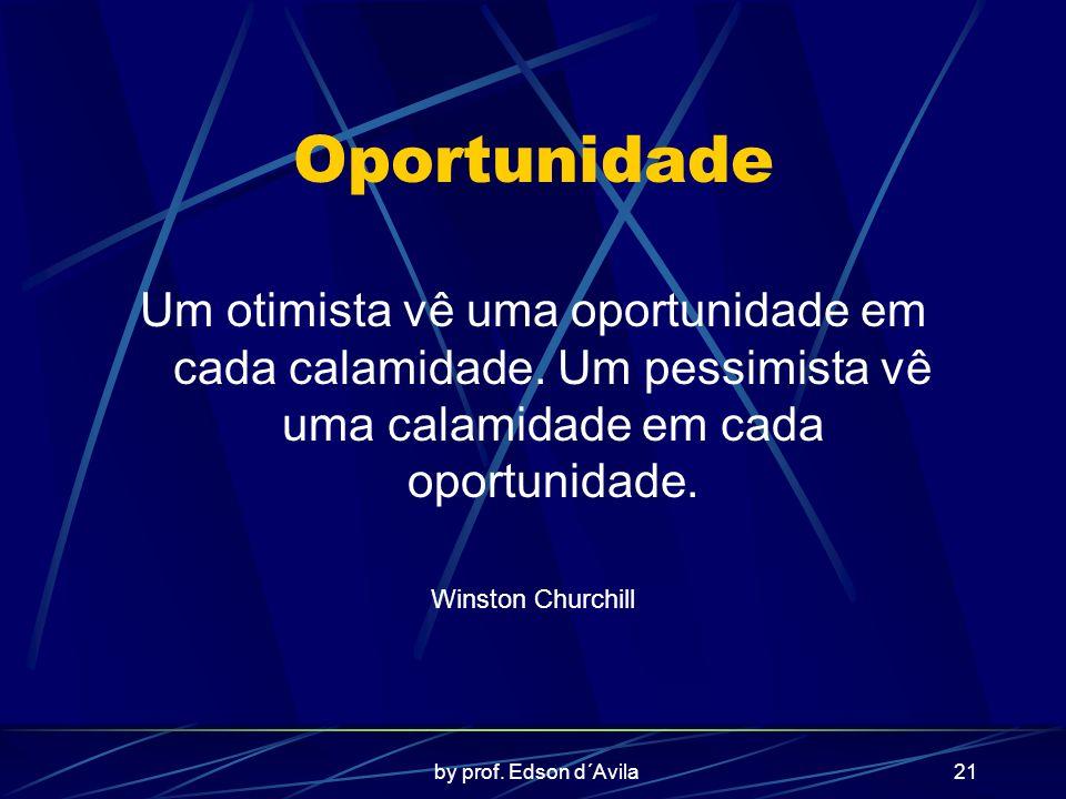 by prof. Edson d´Avila21 Oportunidade Um otimista vê uma oportunidade em cada calamidade. Um pessimista vê uma calamidade em cada oportunidade. Winsto