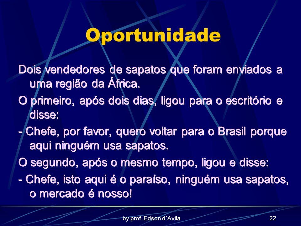 by prof. Edson d´Avila22 Oportunidade Dois vendedores de sapatos que foram enviados a uma região da África. O primeiro, após dois dias, ligou para o e