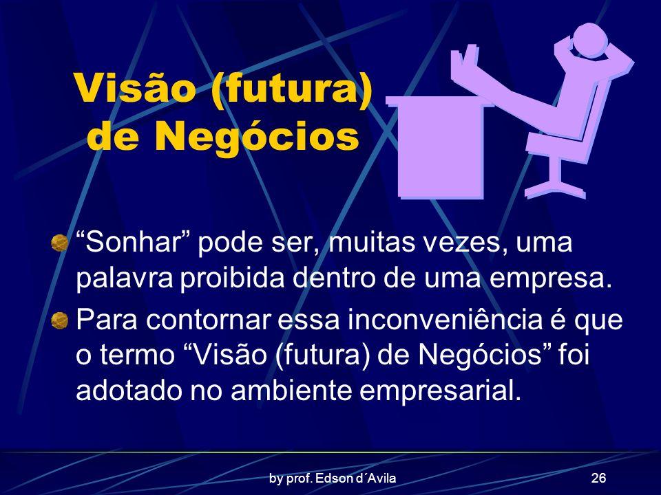 by prof. Edson d´Avila26 Visão (futura) de Negócios Sonhar pode ser, muitas vezes, uma palavra proibida dentro de uma empresa. Para contornar essa inc