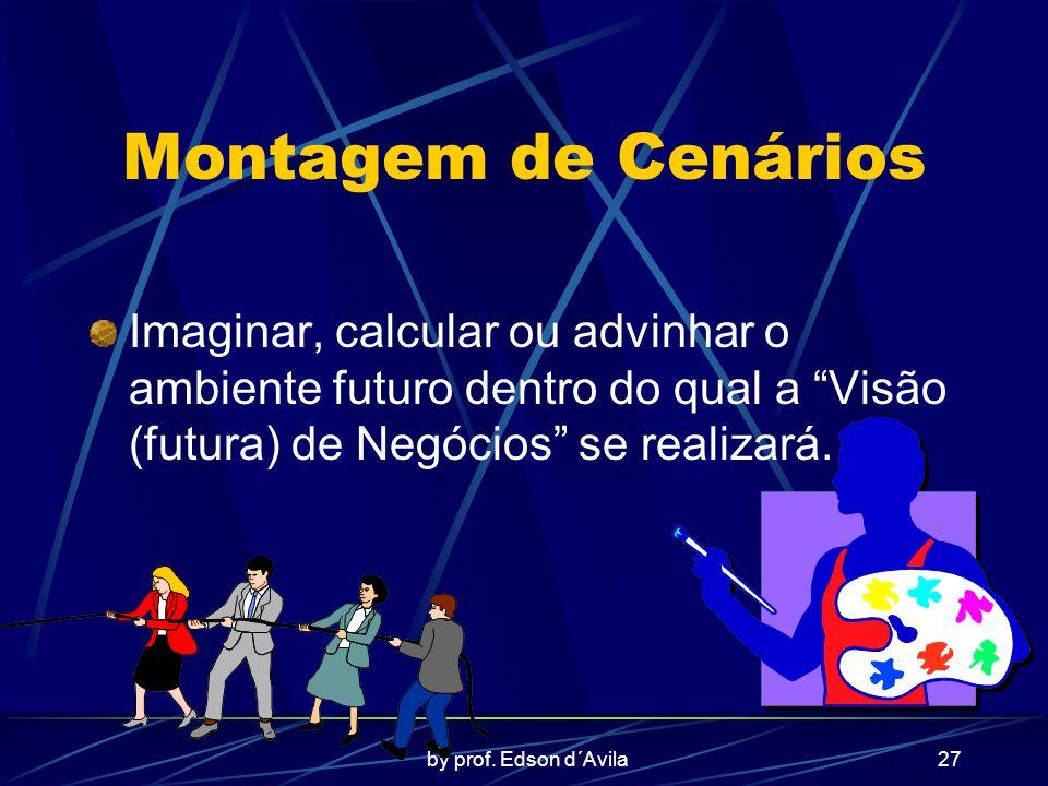 by prof. Edson d´Avila27 Montagem de Cenários Imaginar, calcular ou advinhar o ambiente futuro dentro do qual a Visão (futura) de Negócios se realizar