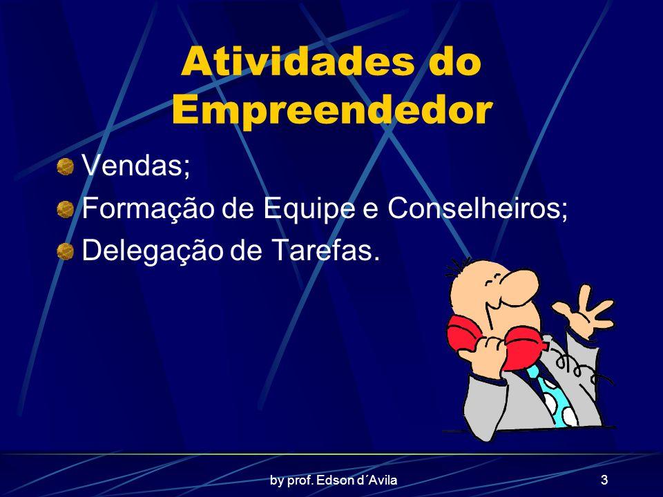 by prof. Edson d´Avila3 Atividades do Empreendedor Vendas; Formação de Equipe e Conselheiros; Delegação de Tarefas.