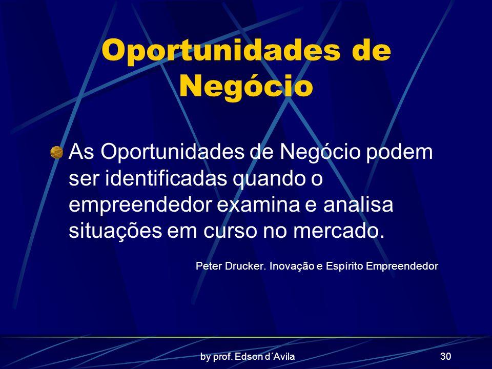 by prof. Edson d´Avila30 Oportunidades de Negócio As Oportunidades de Negócio podem ser identificadas quando o empreendedor examina e analisa situaçõe