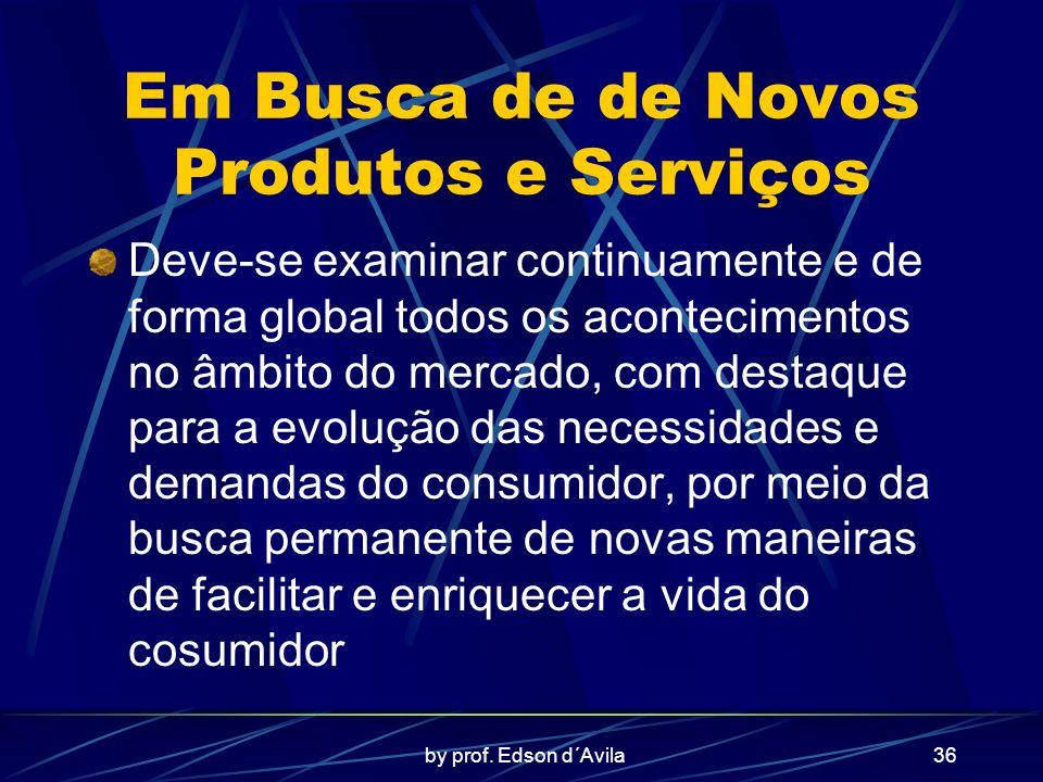 by prof. Edson d´Avila36 Em Busca de de Novos Produtos e Serviços Deve-se examinar continuamente e de forma global todos os acontecimentos no âmbito d