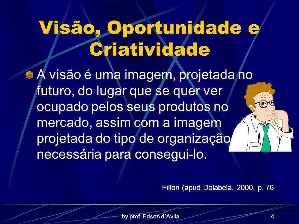 by prof. Edson d´Avila4 Visão, Oportunidade e Criatividade A visão é uma imagem, projetada no futuro, do lugar que se quer ver ocupado pelos seus prod