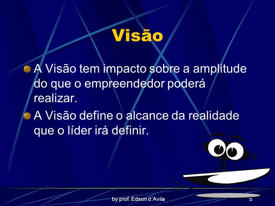 by prof. Edson d´Avila5 Visão A Visão tem impacto sobre a amplitude do que o empreendedor poderá realizar. A Visão define o alcance da realidade que o