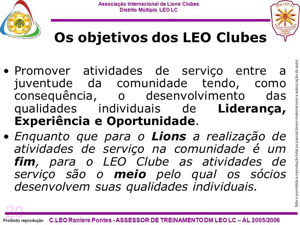20 Proibido reprodução Associação Internacional de Lions Clubes Distrito Múltiplo LEO LC C.LEO Raniere Pontes - ASSESSOR DE TREINAMENTO DM LEO LC – AL
