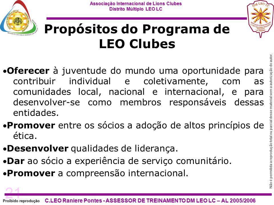 21 Proibido reprodução Associação Internacional de Lions Clubes Distrito Múltiplo LEO LC C.LEO Raniere Pontes - ASSESSOR DE TREINAMENTO DM LEO LC – AL