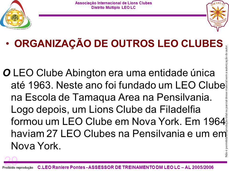 29 Proibido reprodução Associação Internacional de Lions Clubes Distrito Múltiplo LEO LC C.LEO Raniere Pontes - ASSESSOR DE TREINAMENTO DM LEO LC – AL