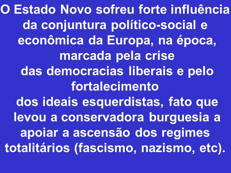 O Estado Novo sofreu forte influência da conjuntura político-social e econômica da Europa, na época, marcada pela crise das democracias liberais e pel