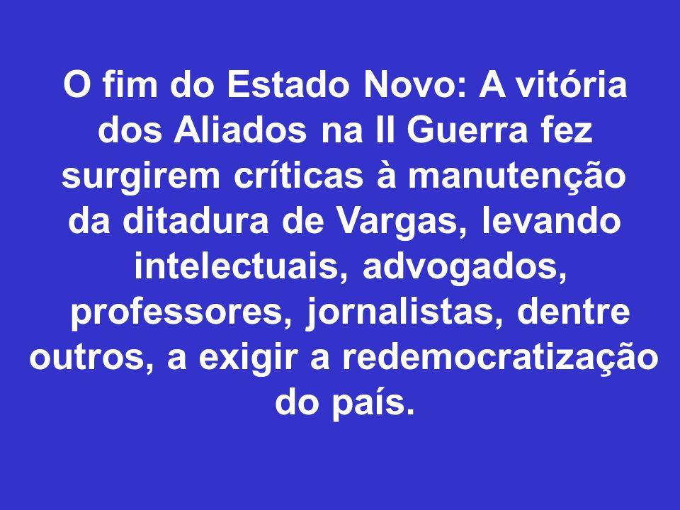 O fim do Estado Novo: A vitória dos Aliados na II Guerra fez surgirem críticas à manutenção da ditadura de Vargas, levando intelectuais, advogados, pr