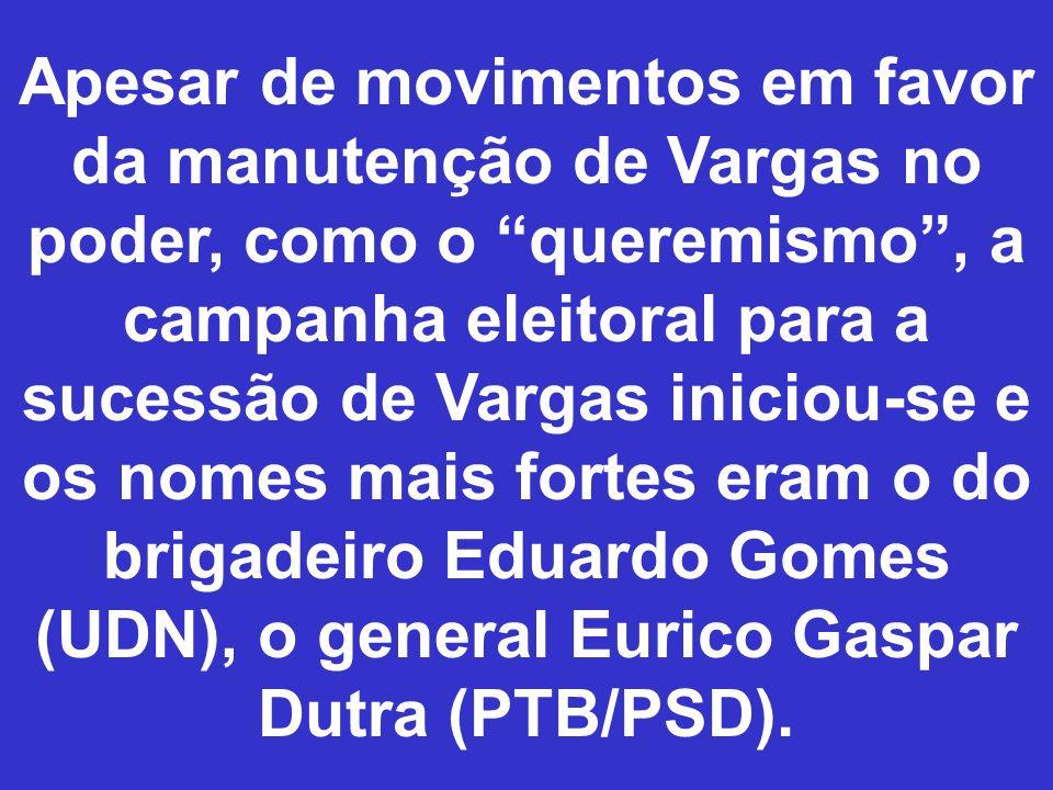 Apesar de movimentos em favor da manutenção de Vargas no poder, como o queremismo, a campanha eleitoral para a sucessão de Vargas iniciou-se e os nome