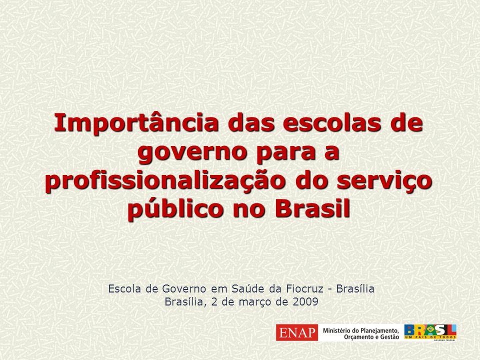 Importância das escolas de governo para a profissionalização do serviço público no Brasil Escola de Governo em Saúde da Fiocruz - Brasília Brasília, 2