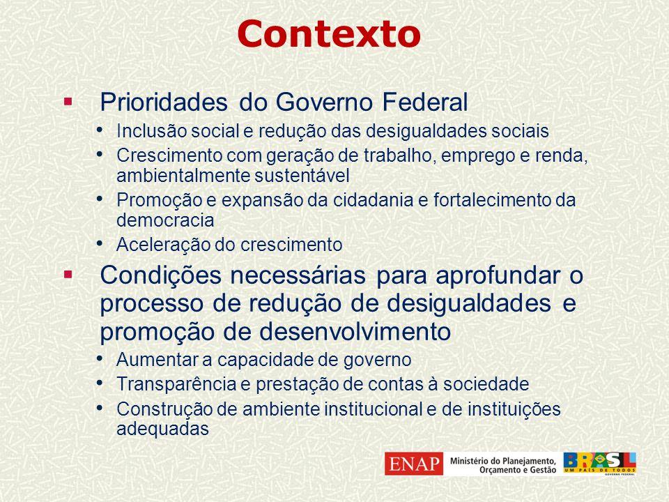Contexto Prioridades do Governo Federal Inclusão social e redução das desigualdades sociais Crescimento com geração de trabalho, emprego e renda, ambi