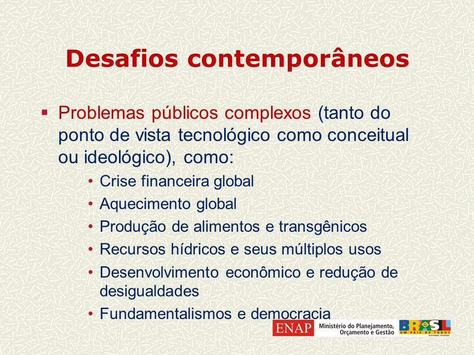 Desafios contemporâneos Problemas públicos complexos (tanto do ponto de vista tecnológico como conceitual ou ideológico), como: Crise financeira globa