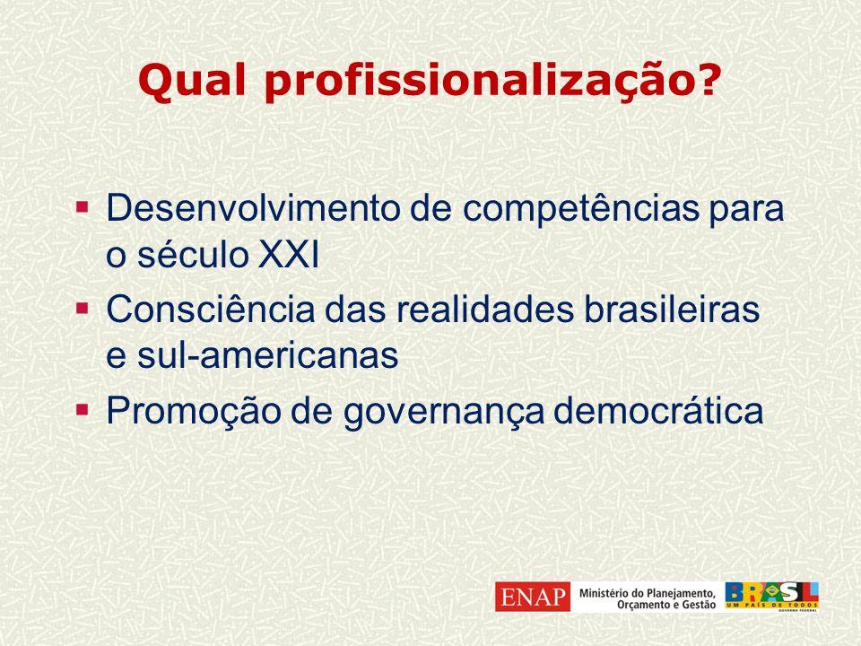 Qual profissionalização? Desenvolvimento de competências para o século XXI Consciência das realidades brasileiras e sul-americanas Promoção de governa