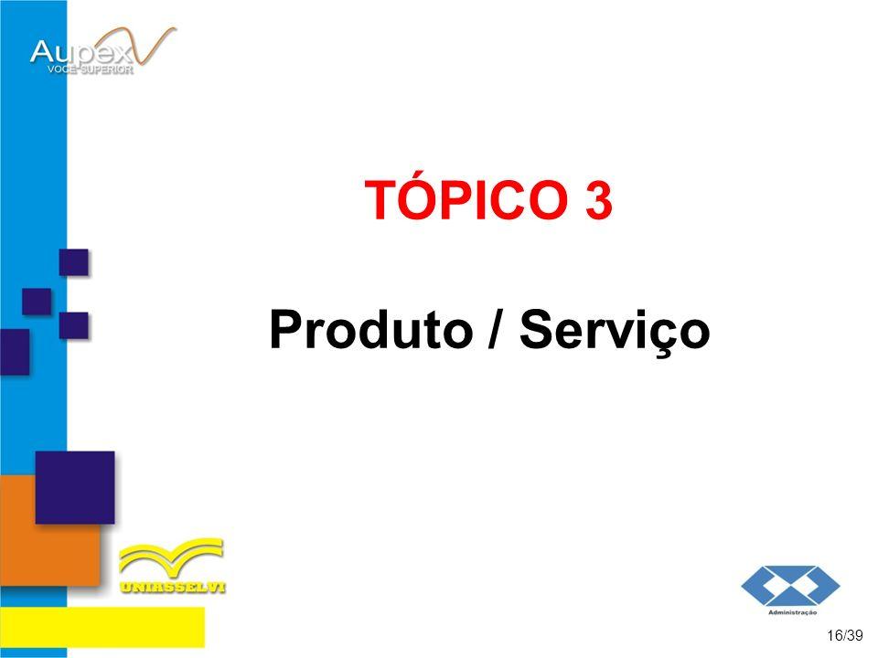 TÓPICO 3 Produto / Serviço 16/39
