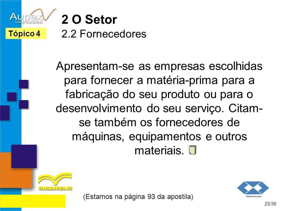 2 O Setor 2.2 Fornecedores Apresentam-se as empresas escolhidas para fornecer a matéria-prima para a fabricação do seu produto ou para o desenvolvimen