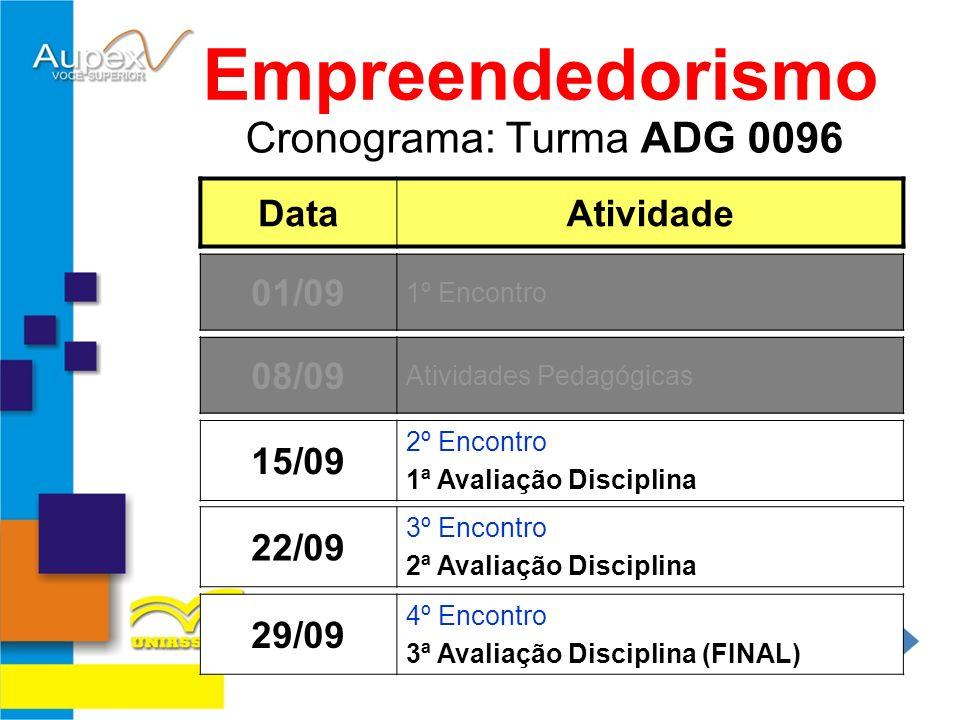 Cronograma: Turma ADG 0096 Empreendedorismo DataAtividade 15/09 2º Encontro 1ª Avaliação Disciplina 01/09 1º Encontro 22/09 3º Encontro 2ª Avaliação D