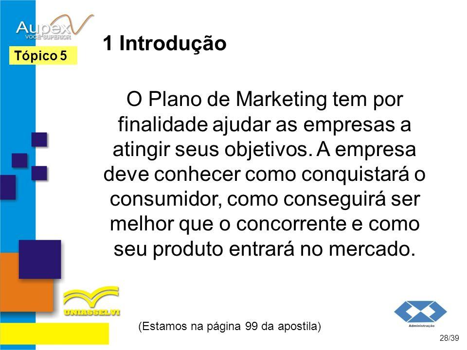 1 Introdução O Plano de Marketing tem por finalidade ajudar as empresas a atingir seus objetivos. A empresa deve conhecer como conquistará o consumido