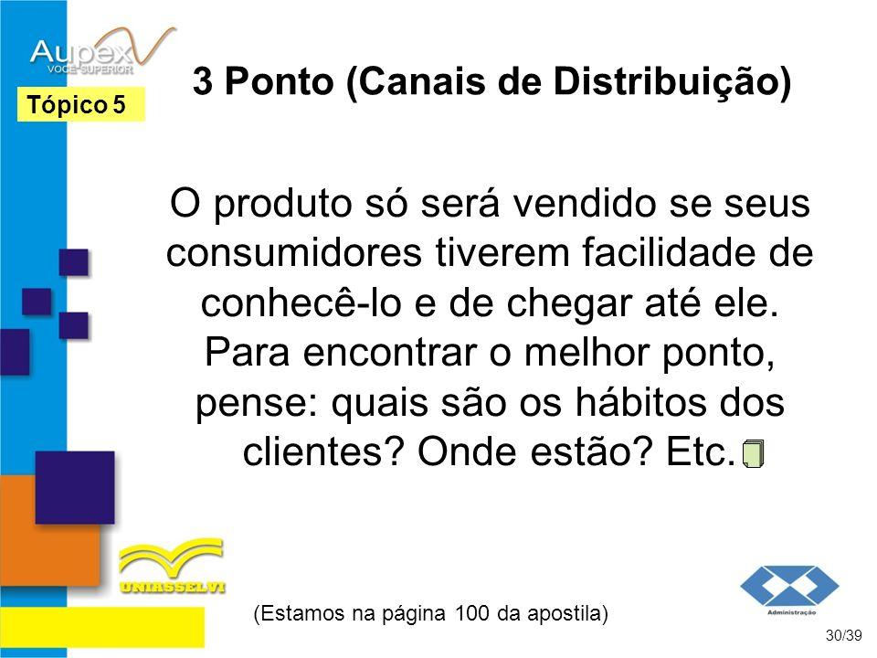 3 Ponto (Canais de Distribuição) O produto só será vendido se seus consumidores tiverem facilidade de conhecê-lo e de chegar até ele. Para encontrar o