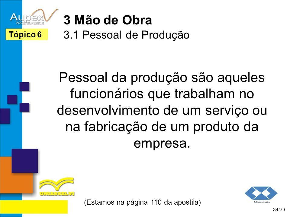 3 Mão de Obra 3.1 Pessoal de Produção Pessoal da produção são aqueles funcionários que trabalham no desenvolvimento de um serviço ou na fabricação de