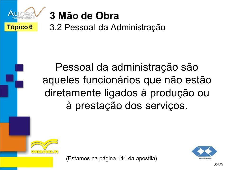 3 Mão de Obra 3.2 Pessoal da Administração Pessoal da administração são aqueles funcionários que não estão diretamente ligados à produção ou à prestaç