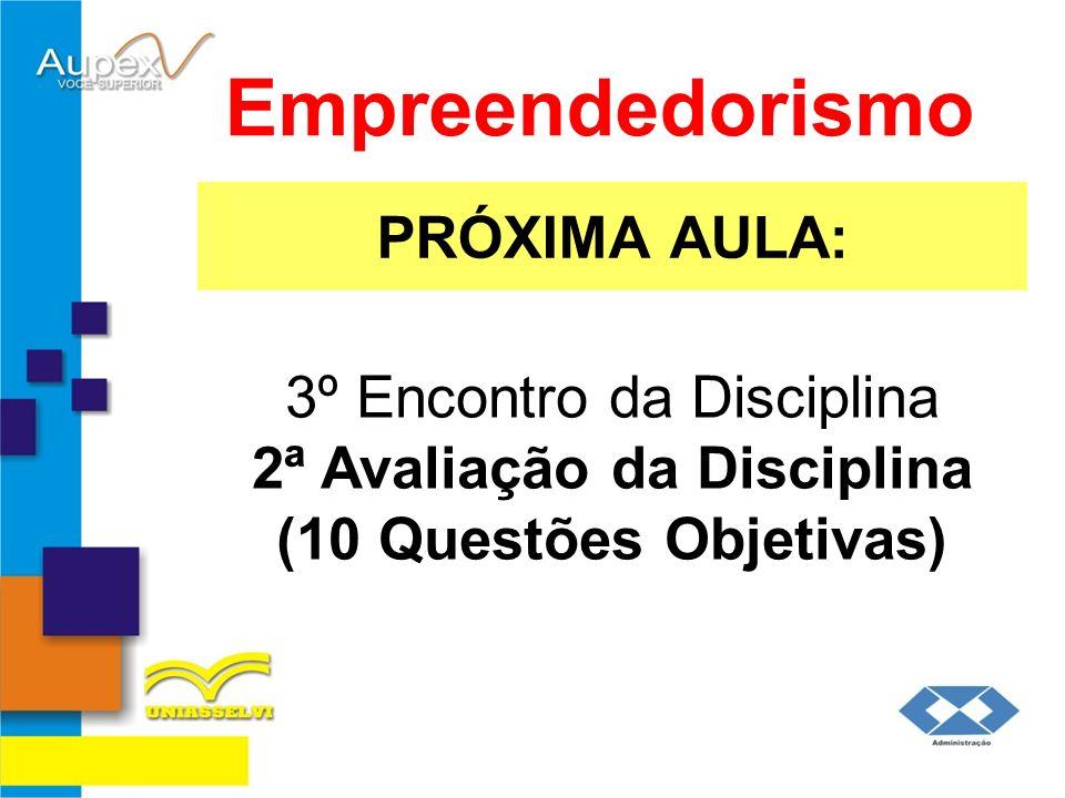 PRÓXIMA AULA: Empreendedorismo 3º Encontro da Disciplina 2ª Avaliação da Disciplina (10 Questões Objetivas)