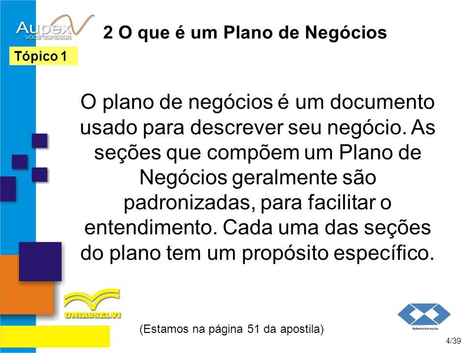 2 O que é um Plano de Negócios O plano de negócios é um documento usado para descrever seu negócio. As seções que compõem um Plano de Negócios geralme