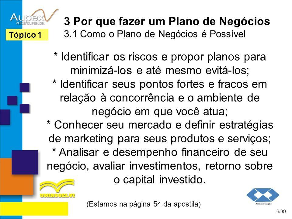 3 Por que fazer um Plano de Negócios 3.1 Como o Plano de Negócios é Possível * Identificar os riscos e propor planos para minimizá-los e até mesmo evi