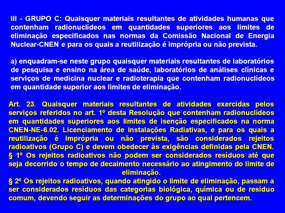 III - GRUPO C: Quaisquer materiais resultantes de atividades humanas que contenham radionuclídeos em quantidades superiores aos limites de eliminação especificados nas normas da Comissão Nacional de Energia Nuclear-CNEN e para os quais a reutilização é imprópria ou não prevista.