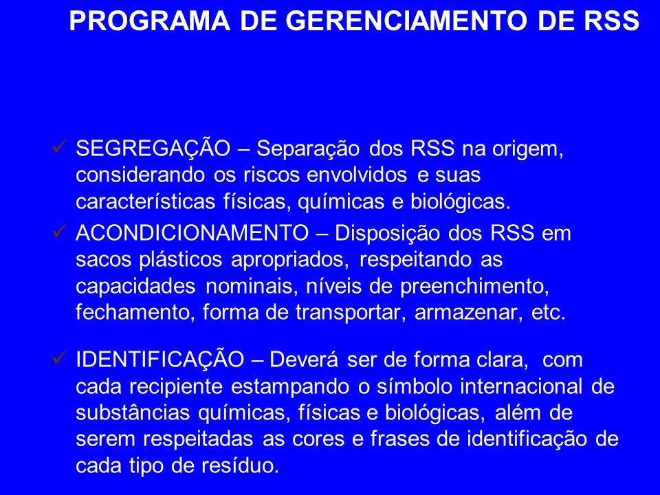 PROGRAMA DE GERENCIAMENTO DE RSS SEGREGAÇÃO – Separação dos RSS na origem, considerando os riscos envolvidos e suas características físicas, químicas e biológicas.