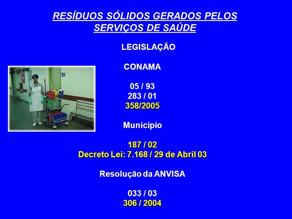 RESÍDUOS SÓLIDOS GERADOS PELOS SERVIÇOS DE SAÚDE Os resíduos do Grupo A, B e C Separados, acondicionados em sacos plásticos, na cor branca leitosa, tipo II, consoante indicação da ABNT, referencia NBR 9190, devidamente fechados e com lacre inviolável Identificados em ambos os lados com as inscrições laterais na cor laranja avermelhado: Lixo Hospitalar Substância / Resíduos Infectantes Dispostos em contentores de polietileno de alta densidade nas cores preta, azul ou vermelha Os sacos plásticos são dimensionados para um volume máximo de cem ( 100 ) litros, sendo utilizados em até setenta por cento ( 70% ) de sua capacidade, mesmo que para isso reduza-se o peso dos resíduos.