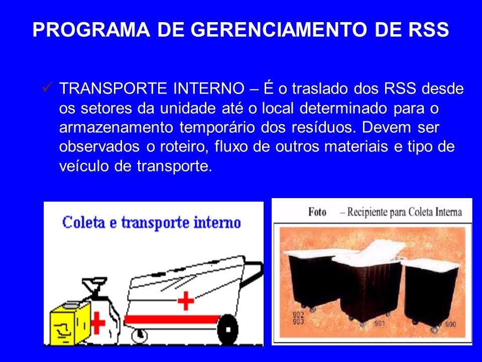 PROGRAMA DE GERENCIAMENTO DE RSS TRANSPORTE INTERNO – É o traslado dos RSS desde os setores da unidade até o local determinado para o armazenamento temporário dos resíduos.
