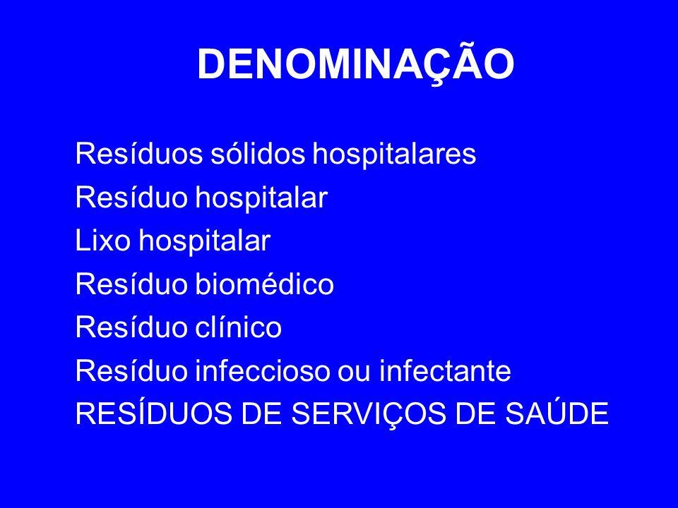 DENOMINAÇÃO Resíduos sólidos hospitalares Resíduo hospitalar Lixo hospitalar Resíduo biomédico Resíduo clínico Resíduo infeccioso ou infectante RESÍDUOS DE SERVIÇOS DE SAÚDE