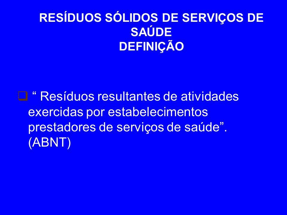 RESÍDUOS SÓLIDOS DE SERVIÇOS DE SAÚDE DEFINIÇÃO Resíduos resultantes de atividades exercidas por estabelecimentos prestadores de serviços de saúde.