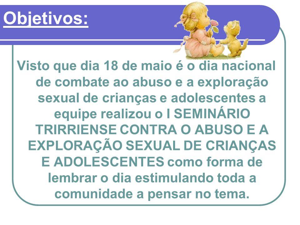 Visto que dia 18 de maio é o dia nacional de combate ao abuso e a exploração sexual de crianças e adolescentes a equipe realizou o I SEMINÁRIO TRIRRIE