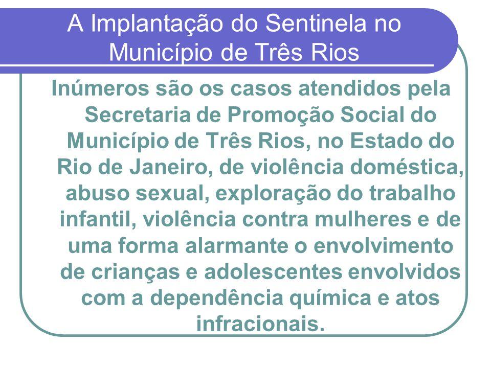 A Implantação do Sentinela no Município de Três Rios Inúmeros são os casos atendidos pela Secretaria de Promoção Social do Município de Três Rios, no