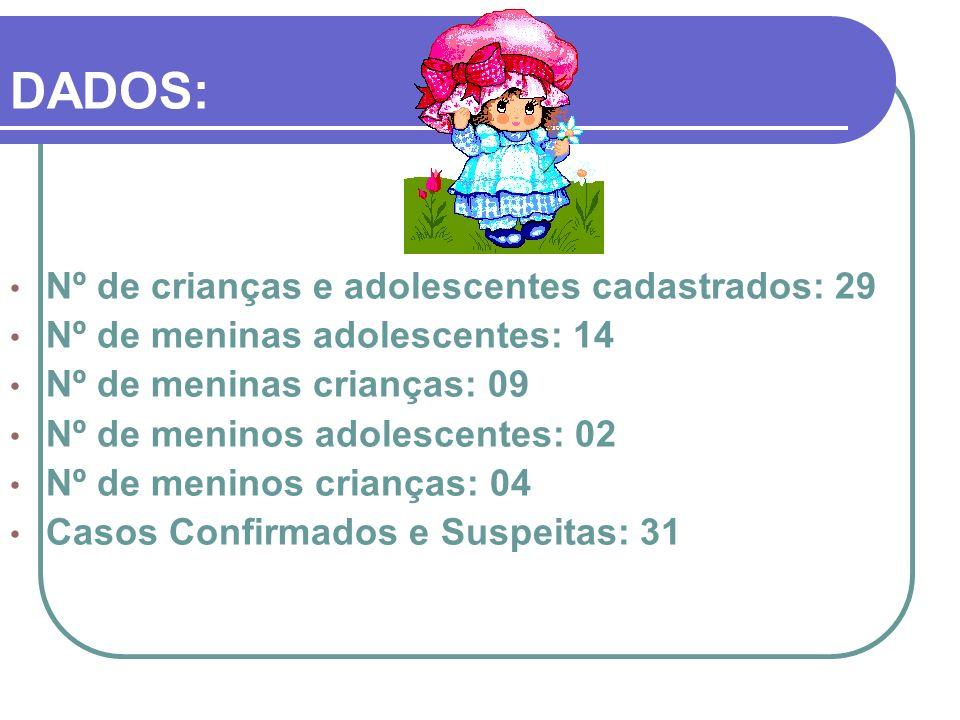 DADOS: Nº de crianças e adolescentes cadastrados: 29 Nº de meninas adolescentes: 14 Nº de meninas crianças: 09 Nº de meninos adolescentes: 02 Nº de me