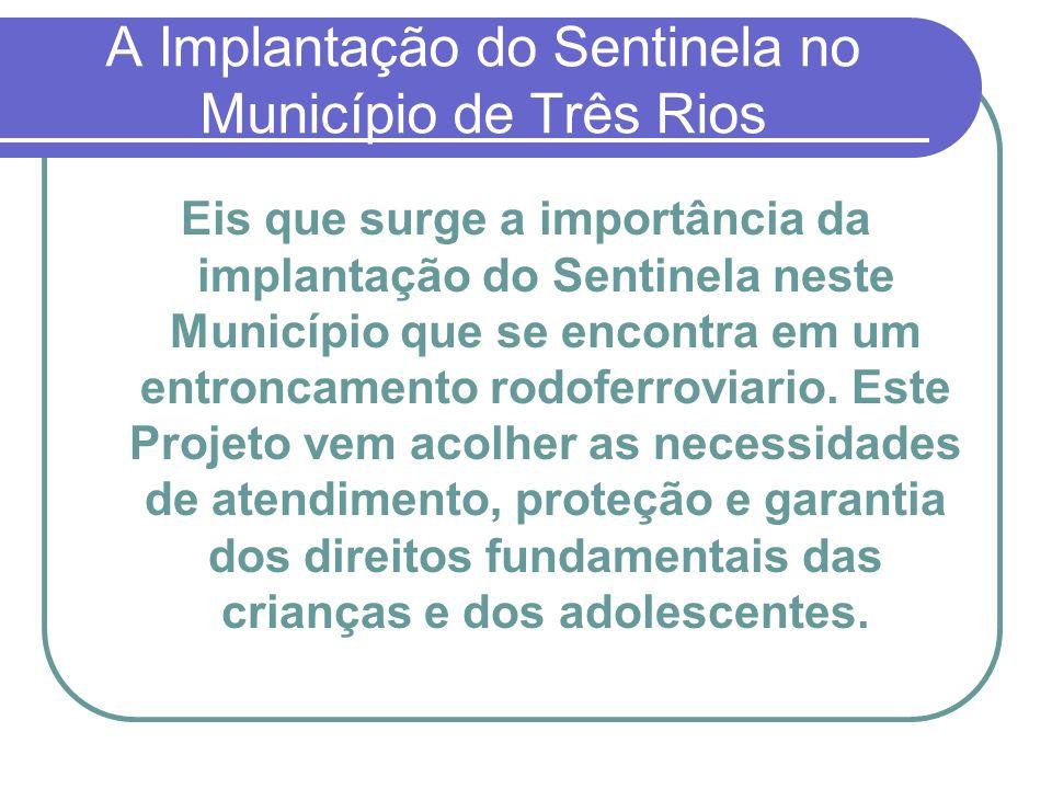 A Implantação do Sentinela no Município de Três Rios O Sentinela foi implantado no Município de Três Rios em 1° de Setembro de 2005.
