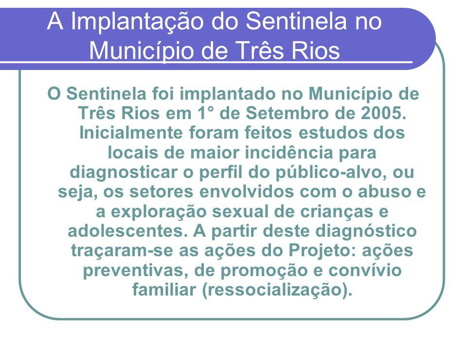 A Implantação do Sentinela no Município de Três Rios O Sentinela foi implantado no Município de Três Rios em 1° de Setembro de 2005. Inicialmente fora