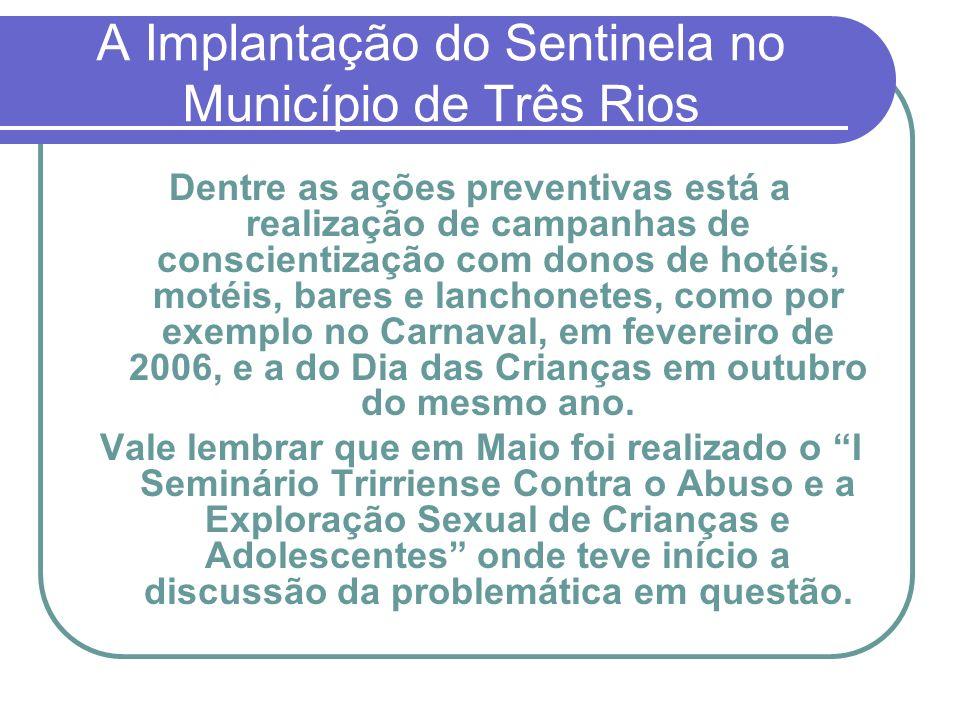 A Implantação do Sentinela no Município de Três Rios Dentre as ações preventivas está a realização de campanhas de conscientização com donos de hotéis