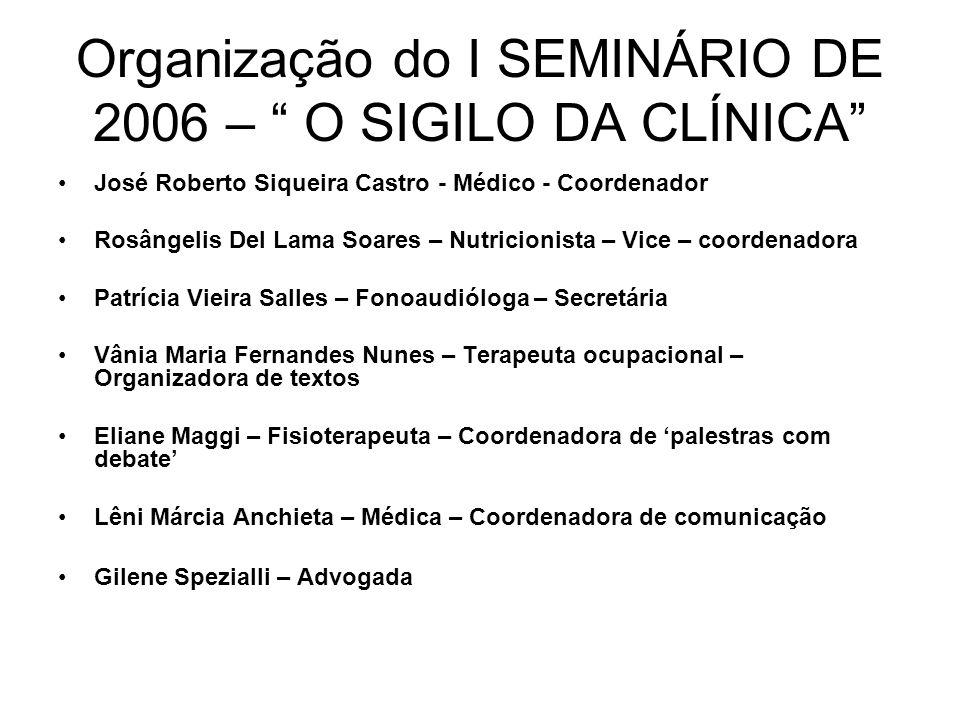 Organização do I SEMINÁRIO DE 2006 – O SIGILO DA CLÍNICA José Roberto Siqueira Castro - Médico - Coordenador Rosângelis Del Lama Soares – Nutricionist