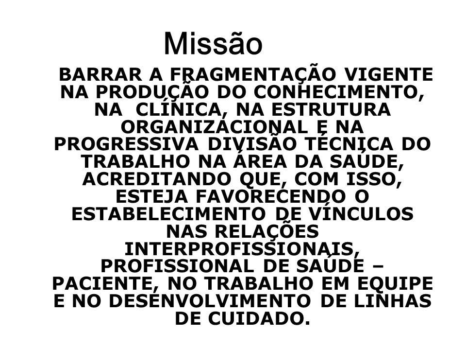 Missão BARRAR A FRAGMENTAÇÃO VIGENTE NA PRODUÇÃO DO CONHECIMENTO, NA CLÍNICA, NA ESTRUTURA ORGANIZACIONAL E NA PROGRESSIVA DIVISÃO TÉCNICA DO TRABALHO