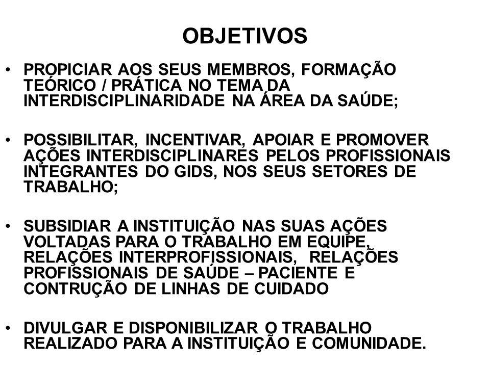 OBJETIVOS PROPICIAR AOS SEUS MEMBROS, FORMAÇÃO TEÓRICO / PRÁTICA NO TEMA DA INTERDISCIPLINARIDADE NA ÁREA DA SAÚDE; POSSIBILITAR, INCENTIVAR, APOIAR E