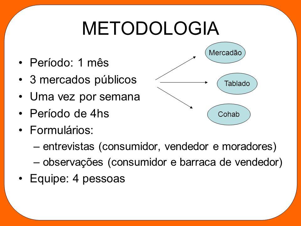 METODOLOGIA Período: 1 mês 3 mercados públicos Uma vez por semana Período de 4hs Formulários: –entrevistas (consumidor, vendedor e moradores) –observa