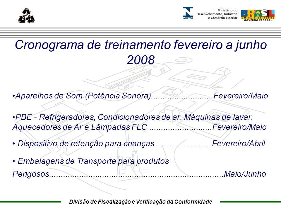 Marca do evento Cronograma de treinamento fevereiro a junho 2008 Aparelhos de Som (Potência Sonora)...........................Fevereiro/Maio PBE - Ref