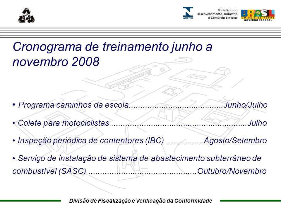 Marca do evento Cronograma de treinamento junho a novembro 2008 Programa caminhos da escola.........................................Junho/Julho Colete